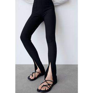 Zara Slit Ribbed Leggings XS Black